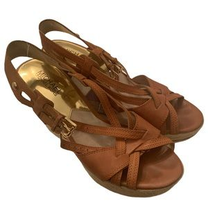 Michael Kors brown leather gold wedges sandals 9